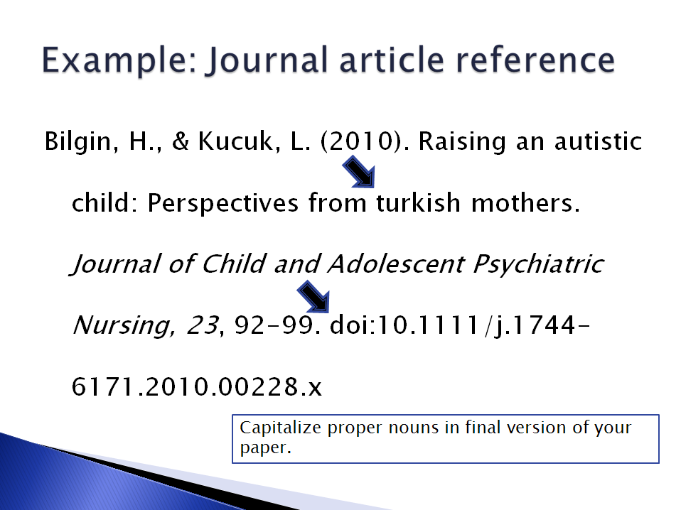journal articles in reference list example