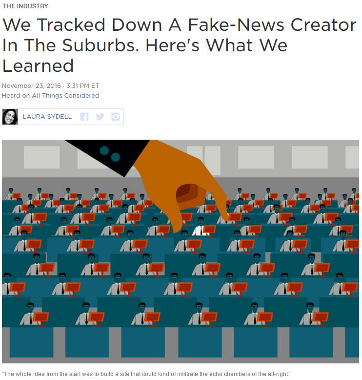 """We tracked down a fake-news creator in the suburbs. Here's what we learned"" article"