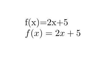 Image comparing mathematics written in and out of LaTeX's math mode
