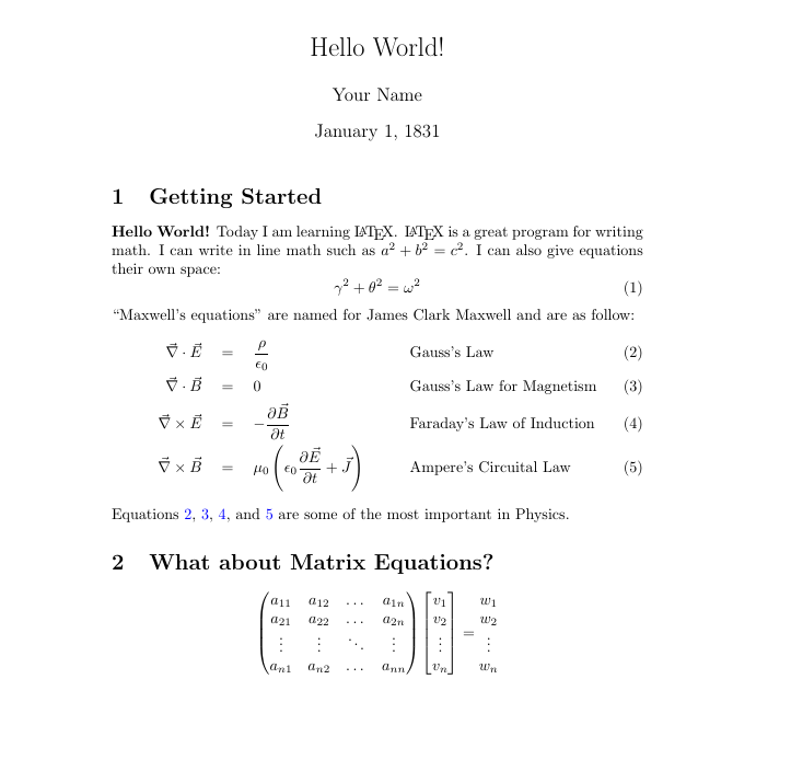 Latex Example Math