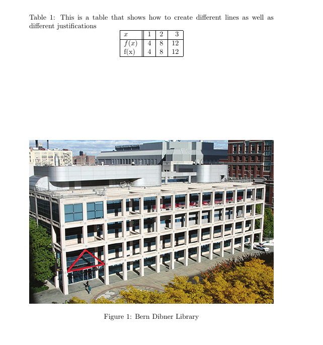 LaTeX document with a table and image of Dibner Library building