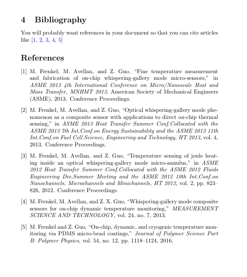 Image of a bibliography section of a text including 5 references