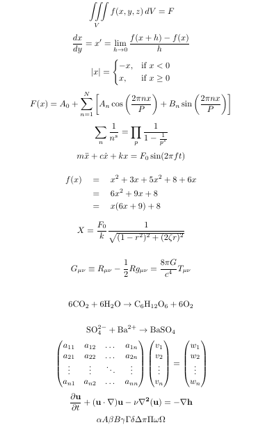 An image containing 9 mathematical equations of various complexity