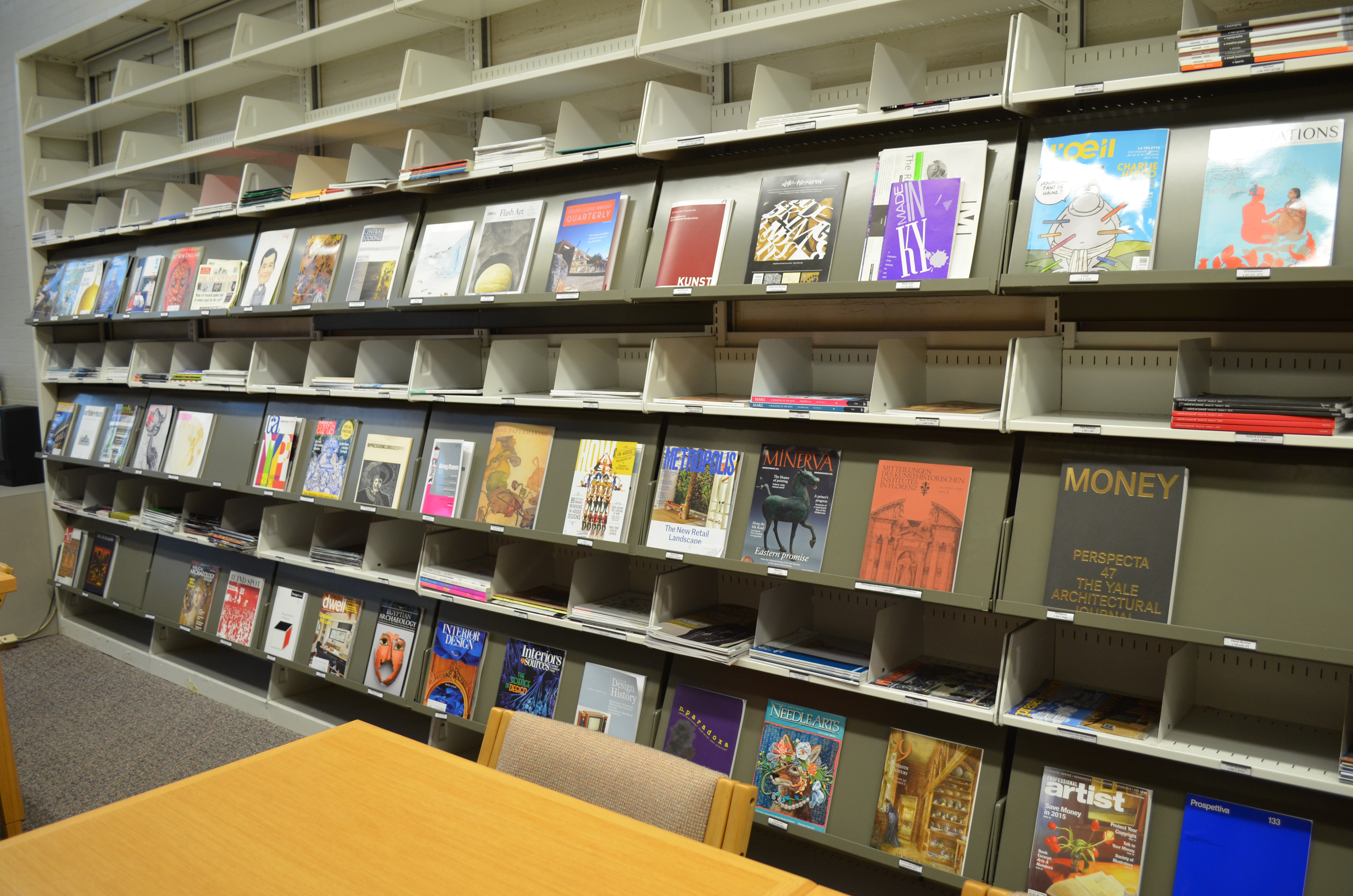 Rows of art periodicals on display