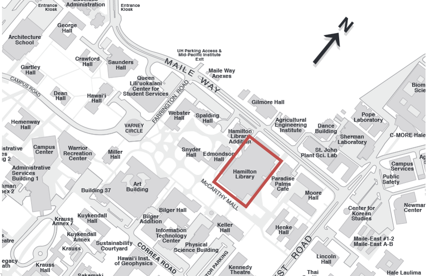 Campus Map with Hamilton Library shown