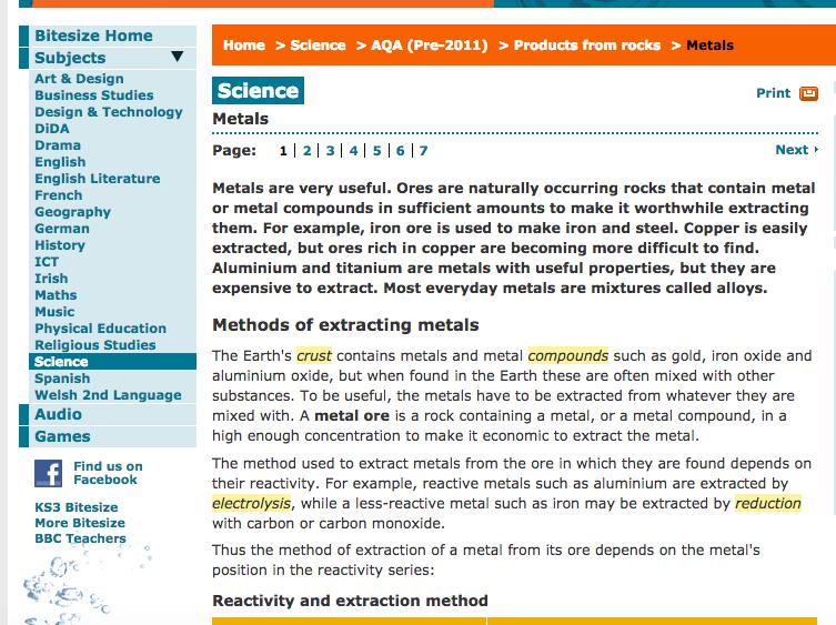 Unit 1 chemistry research investigation of metals sciences gcse bitesize science metals urtaz Gallery