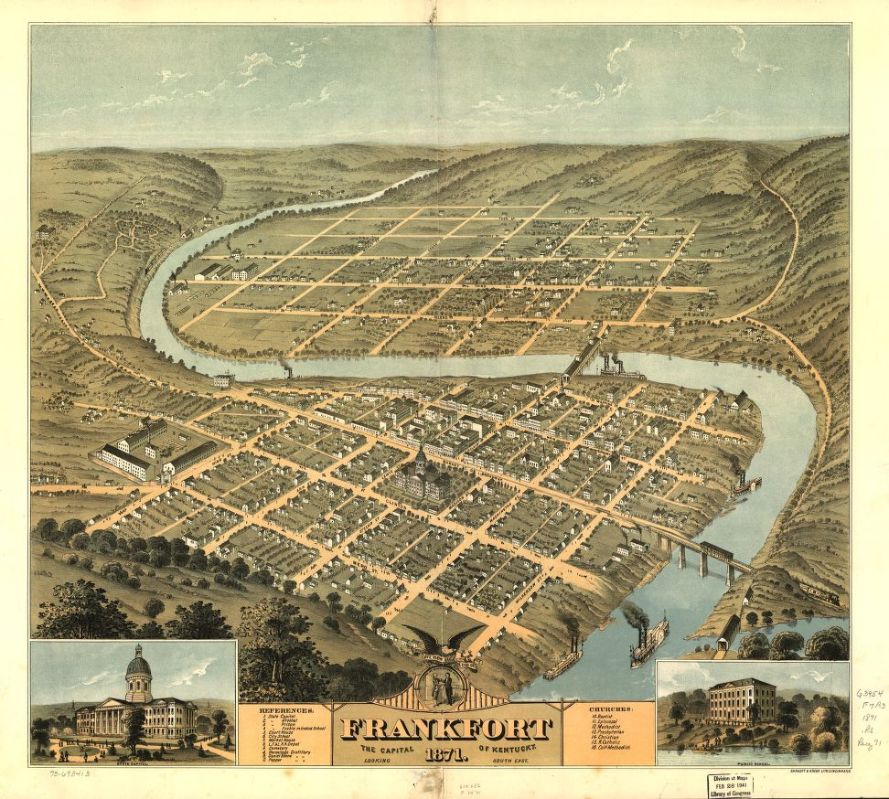 Bird's eye view of the city of Frankfort, the capital of Kentucky 1871