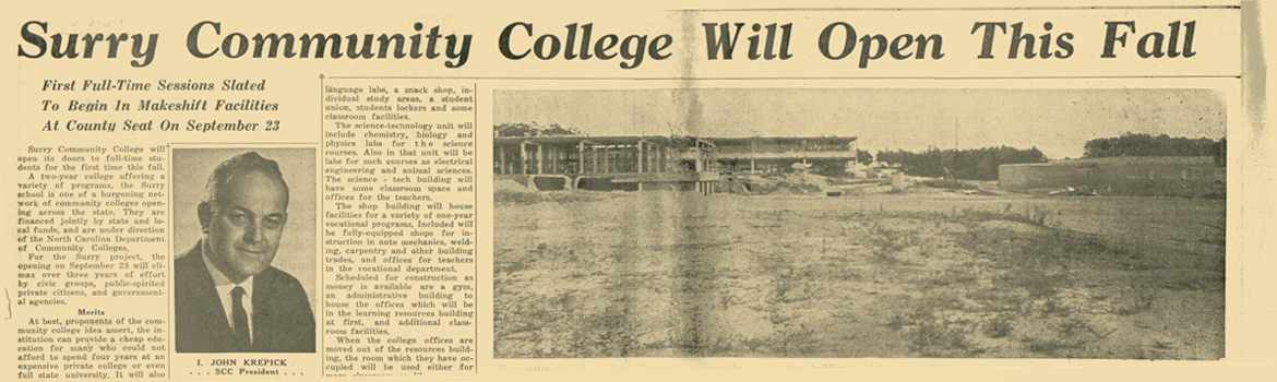 Mount Airy Times Article announcing college opening