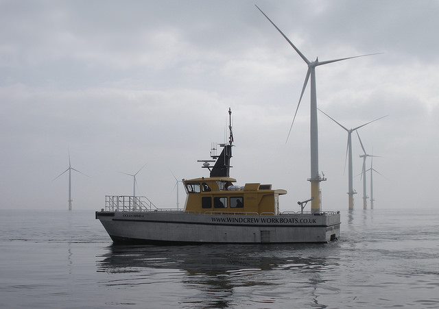 offshore wind farm and a boat