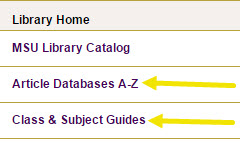 Image of left search bar, with arrows pointing at the Article Databases and Class & Subject Guides options.