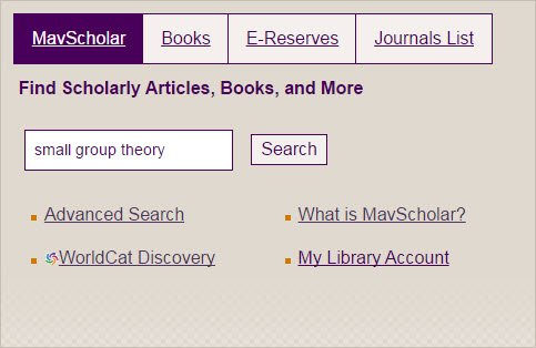Use the mavscholar search box to search for your topic