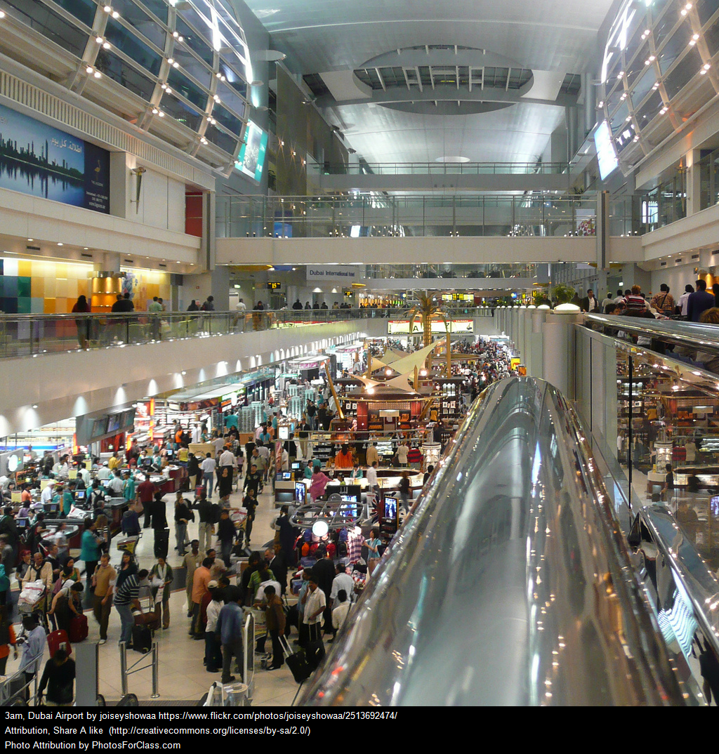 People inside Dubai Airport