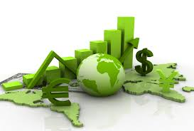 3D image with economics icons: dollar sign, globe, bar chart, euro sign