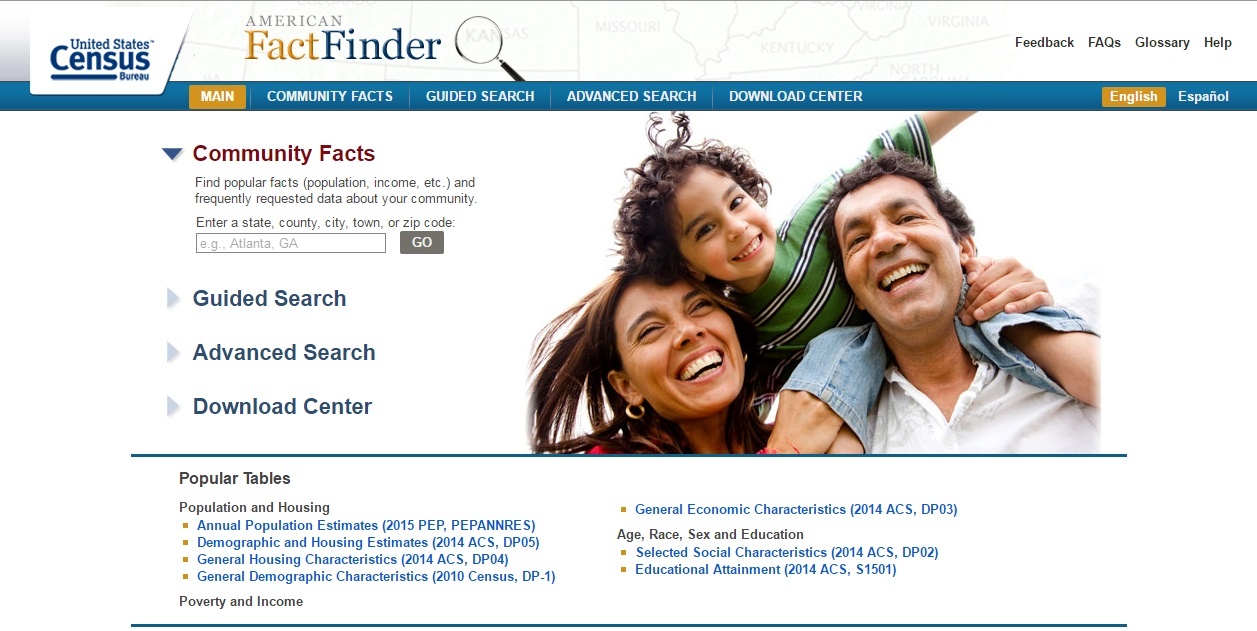 main or home page for american fact finder website