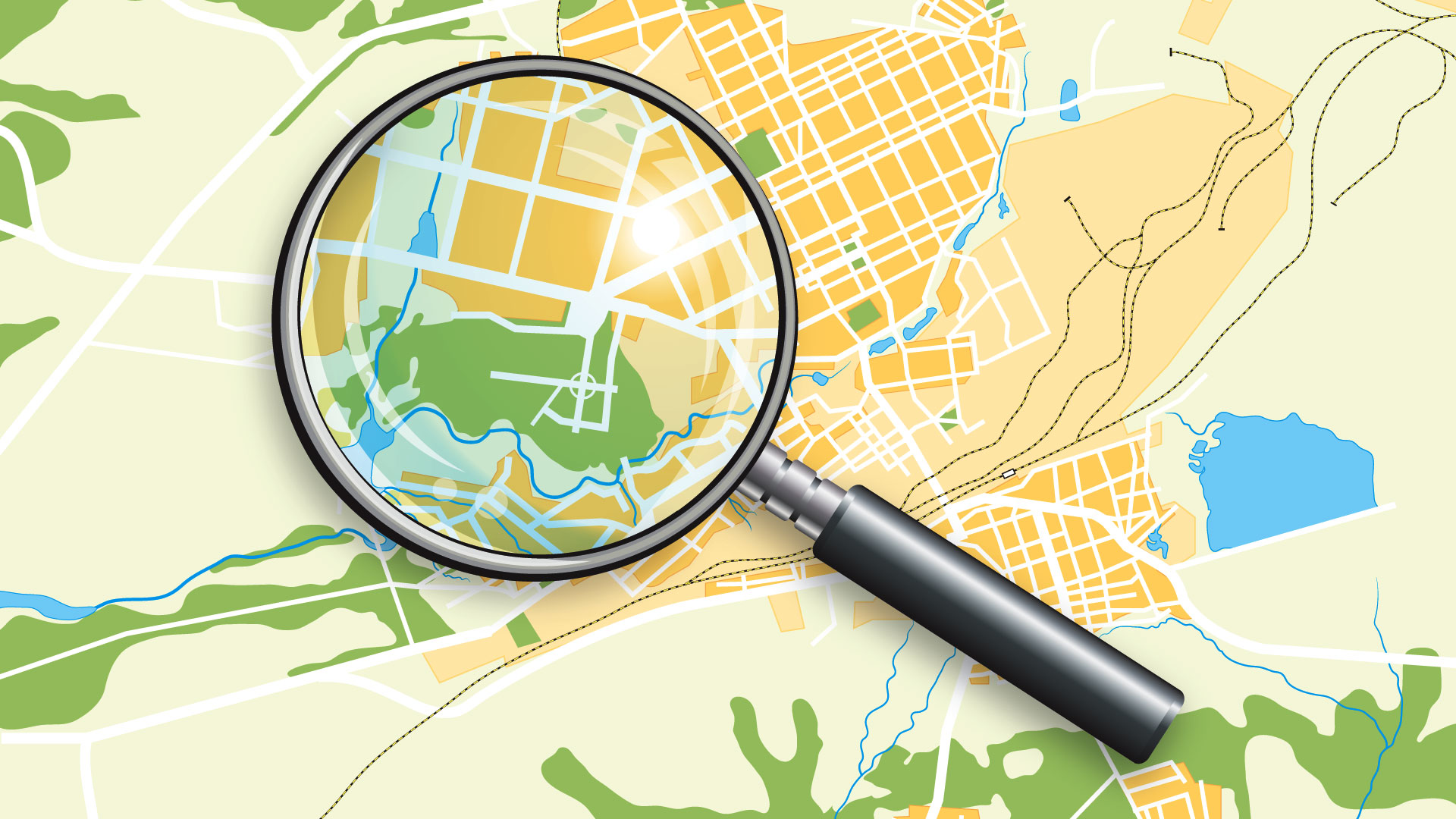 magnifying glass and map image