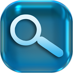 magnifying glass icon blue
