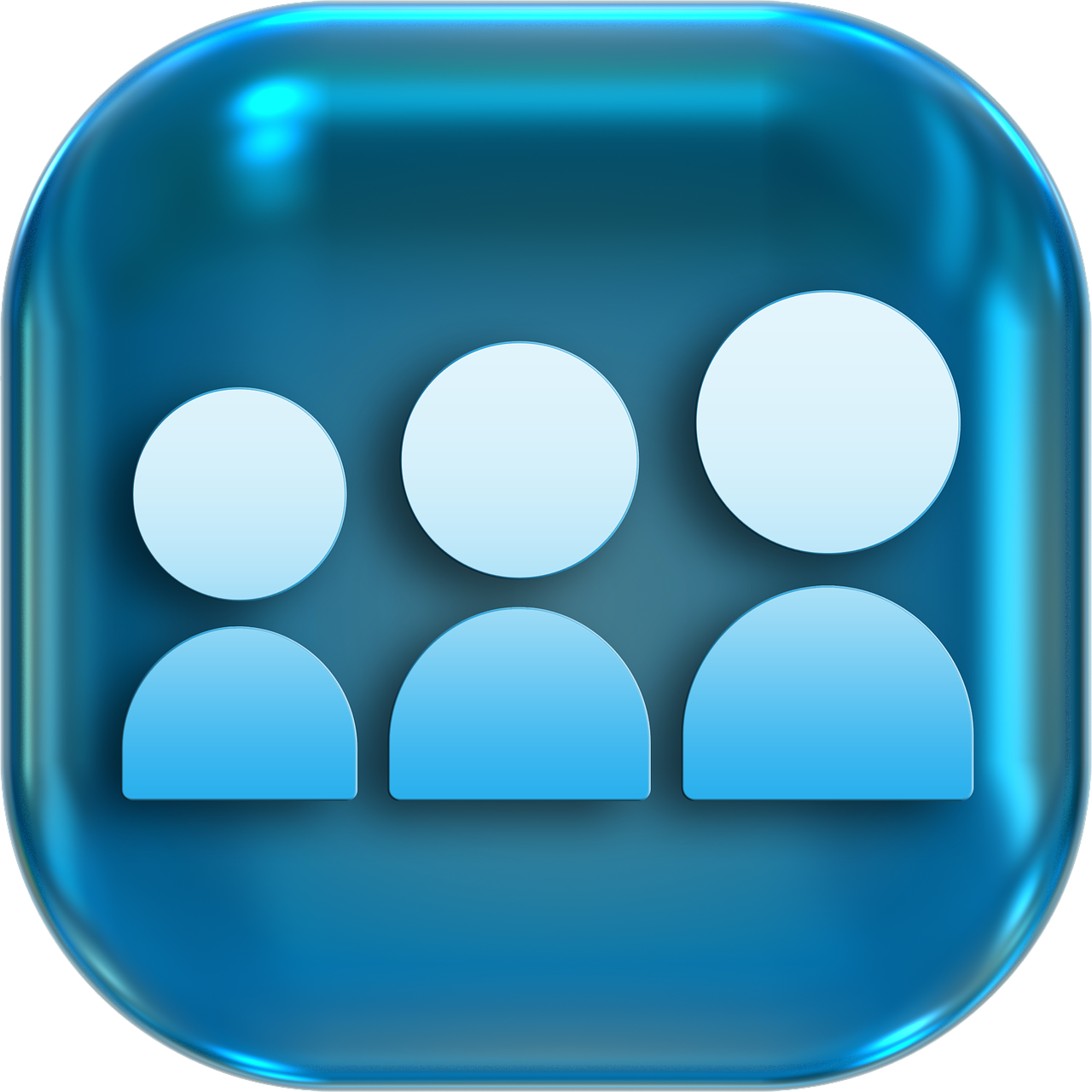 blue icon of 3 people
