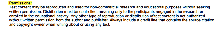 screenshot of permission classification on the Cover Page of the Full-text of the test