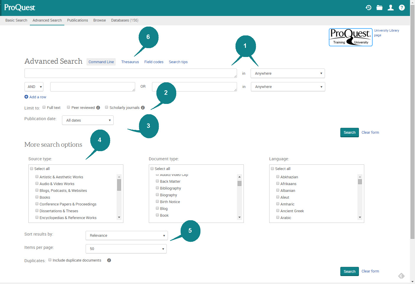 ProQuest Advanced Search Screen