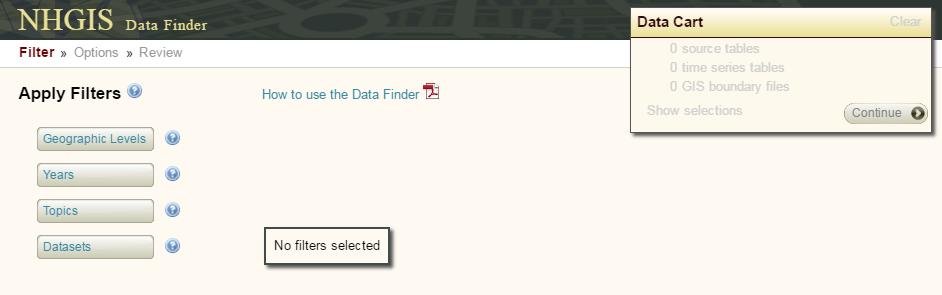 Data Finder page