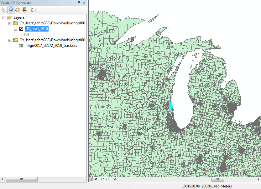 Milwaukee County selected in ArcMap