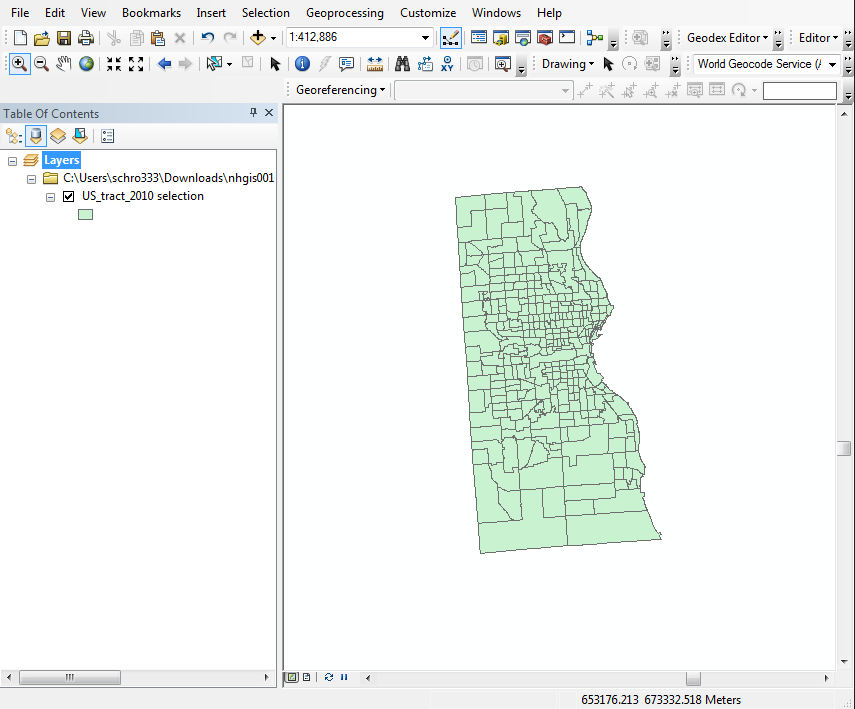 Milwaukee County isolated in ArcMap