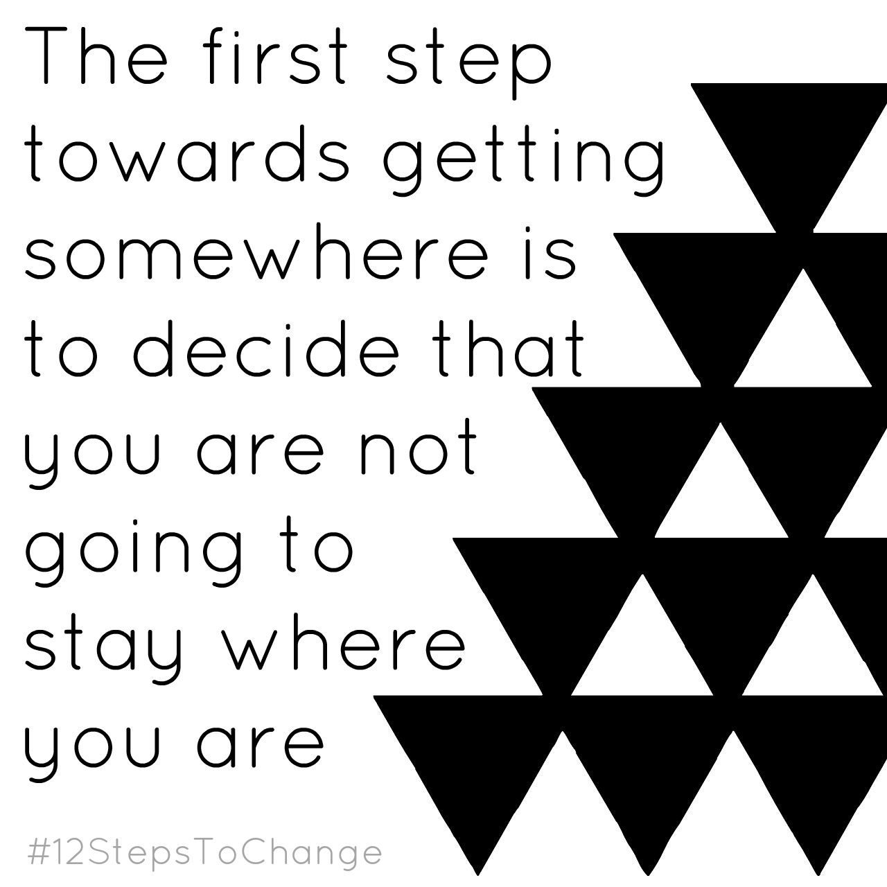 "Quote reading, ""The first step towards getting somewhere is to decide that you are not going to stay where you are."""