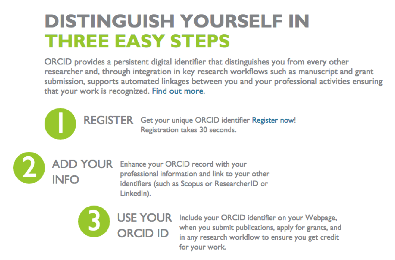 Screenshot on how to register for an orcid