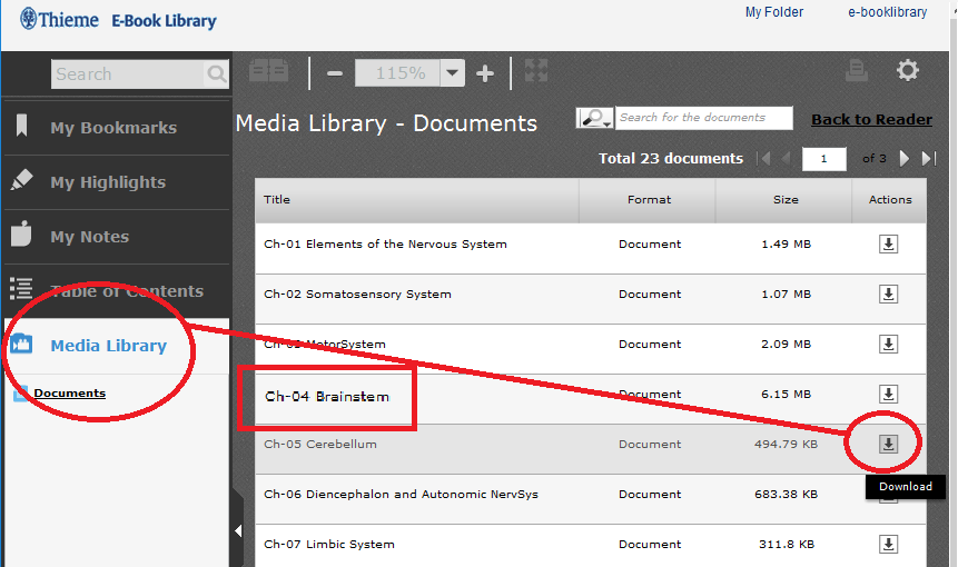 Interface of Thieme e-Book Library showing Media Library options
