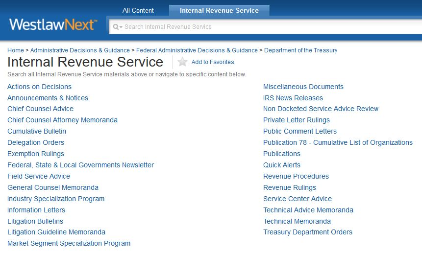 IRS Materials Federal Tax Research Guide Research Guides at