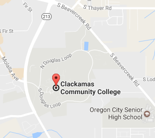 Google Map of Clackamas Community College streets.