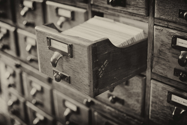 Black and white photograph of a card catalog