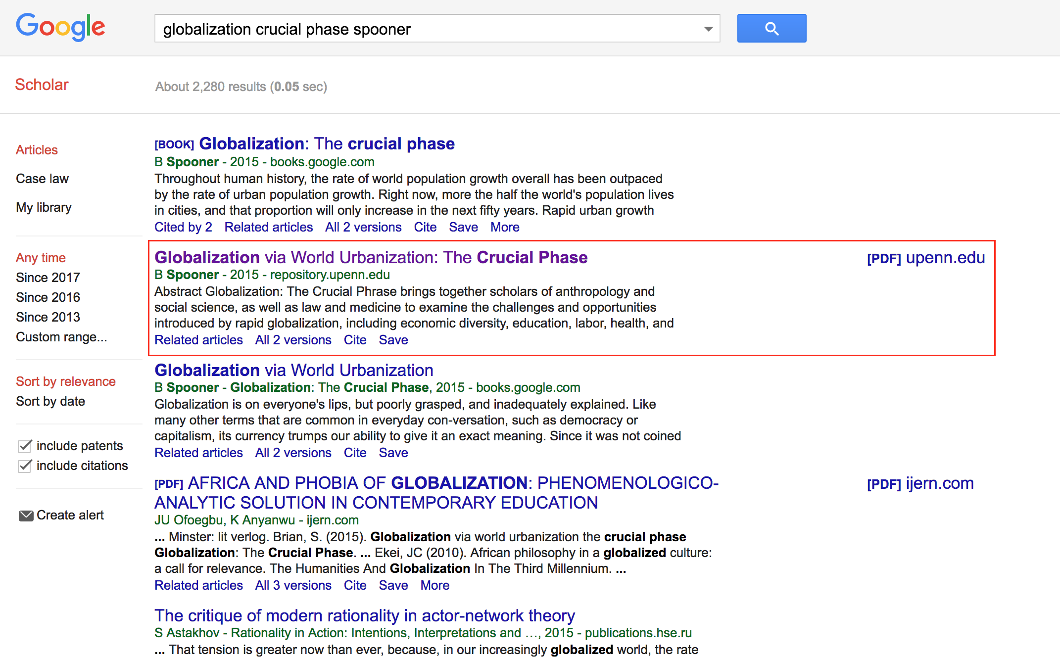 Screenshot of Google Scholar search results displaying an item from ScholarlyCommons