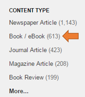 LionSearch Content Type limit with Book / eBook option highlighted