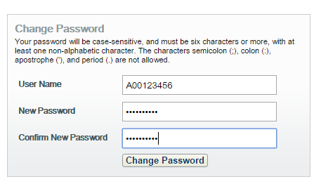 change password screen with fields for user name new password and confirm password