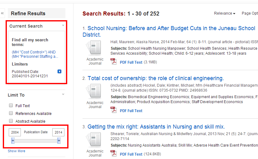 cinahl search results limited by publication date slide and current search