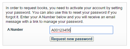 Reqest new password screen with field to enter A number