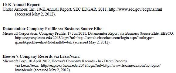 citing sources - business