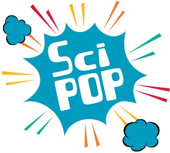 SciPop written in white text inside an exploding blue cloud with red, yellow and green streaks showing the motion of the explosion.