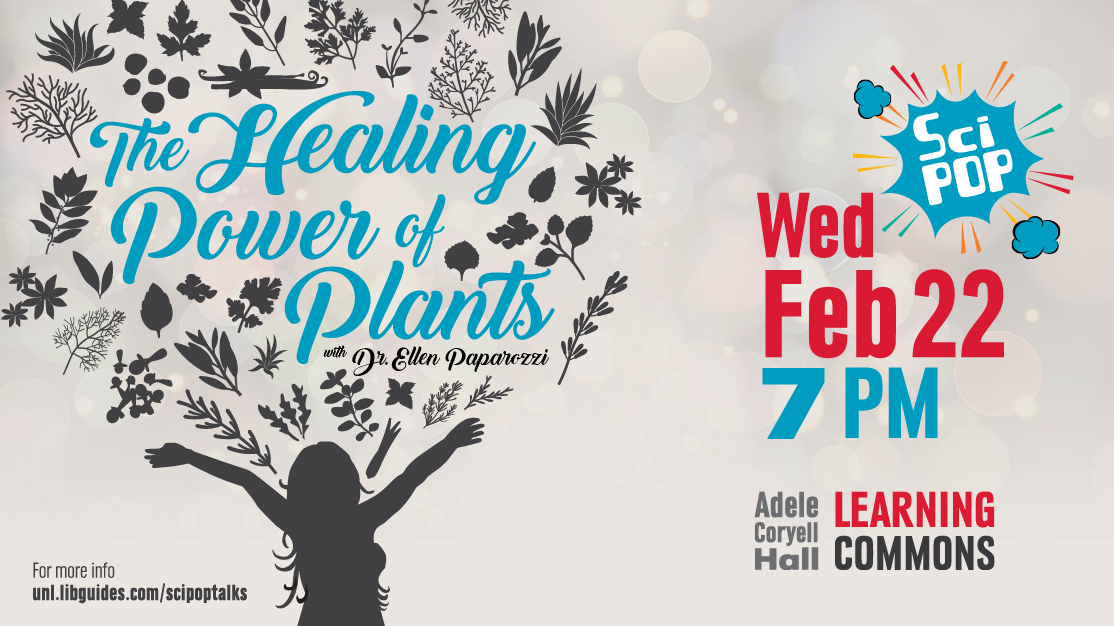 The Healing Power of Plants, image of woman with hands in the air and plants and leaves shooting into the air