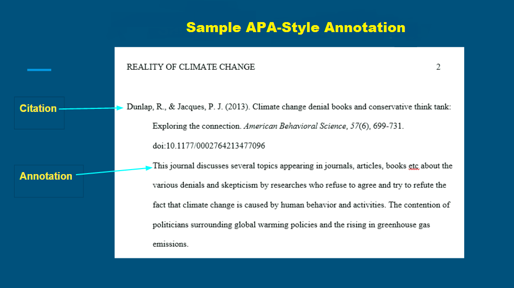 apa annotated bibliography indentation