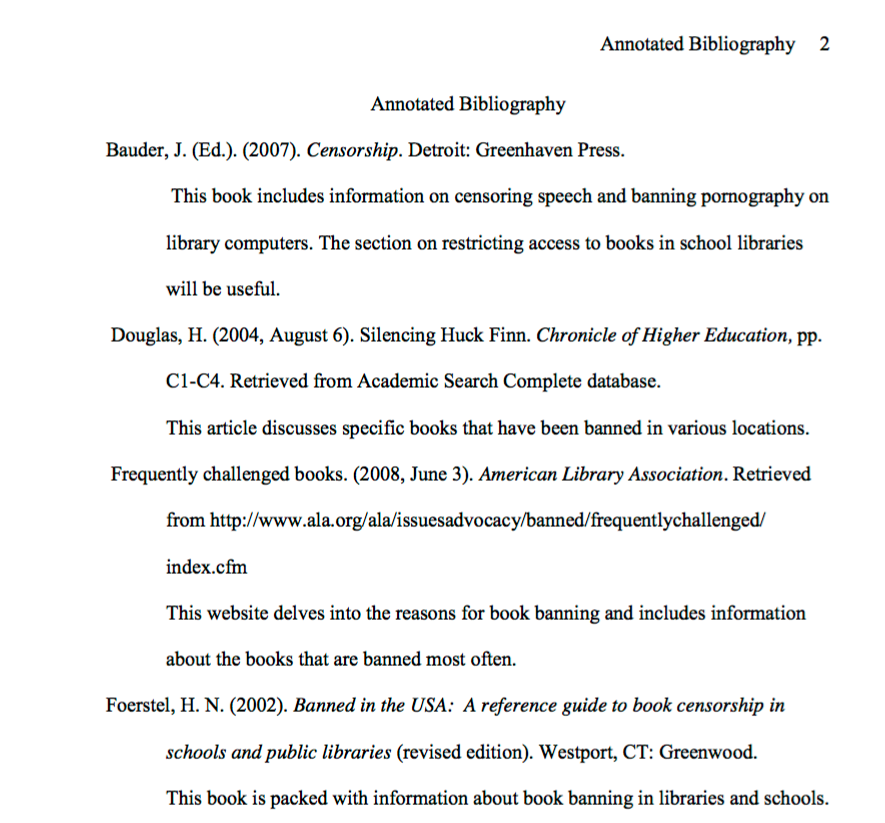 definition and examples apa style annotated bibliography