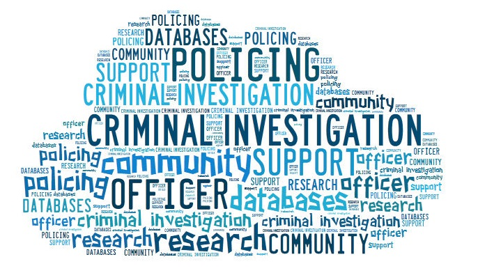 policing and criminal investigation word cloud