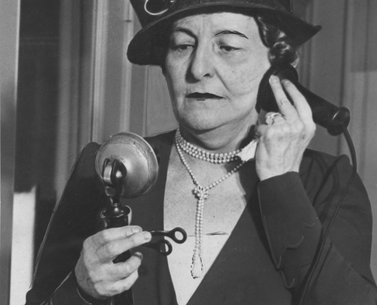 Historic photo of woman on a telephone