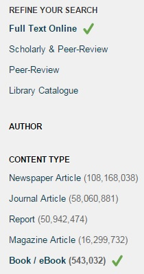 Library Search filters