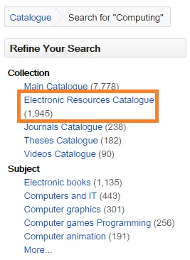 DMU Library Catalogue search filters