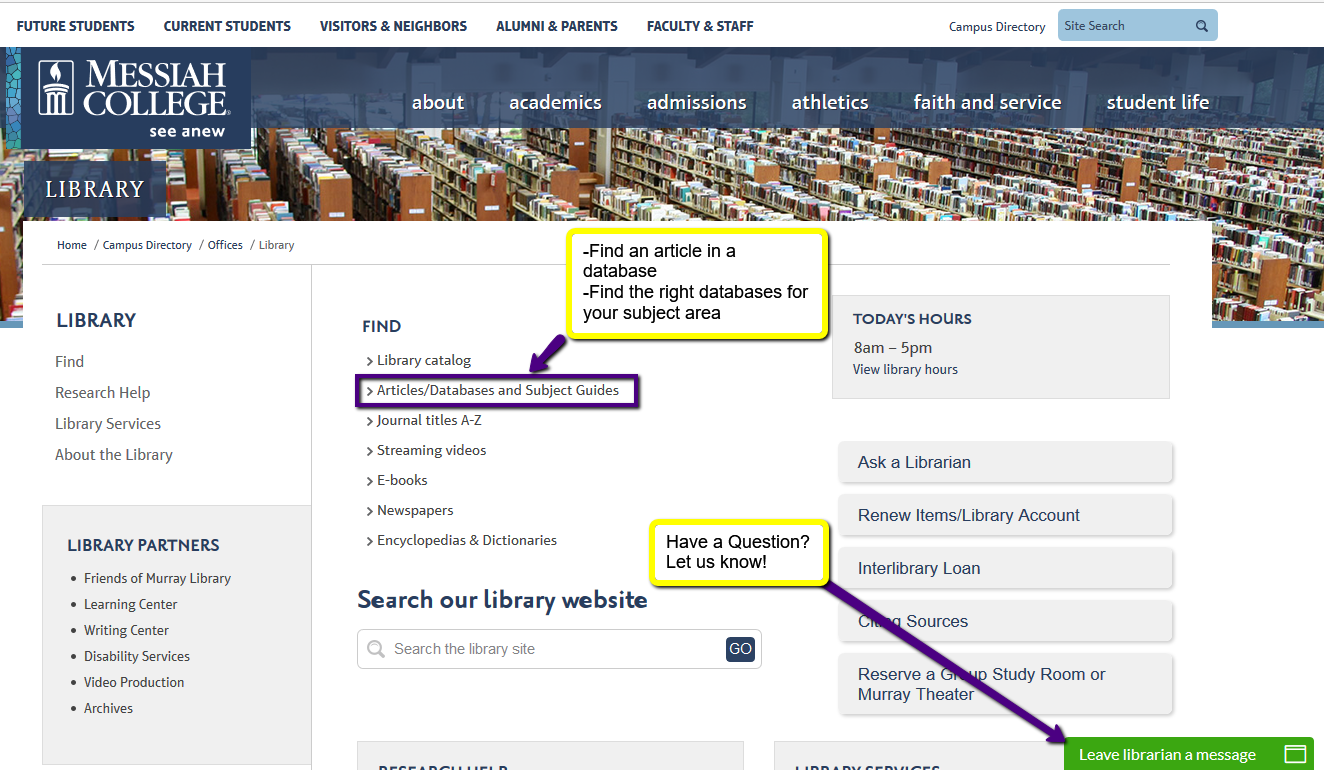 Start on Library Homepage