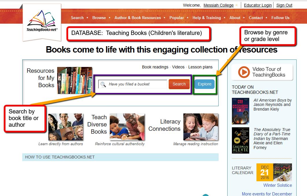 TeachingBooks.Net homepage
