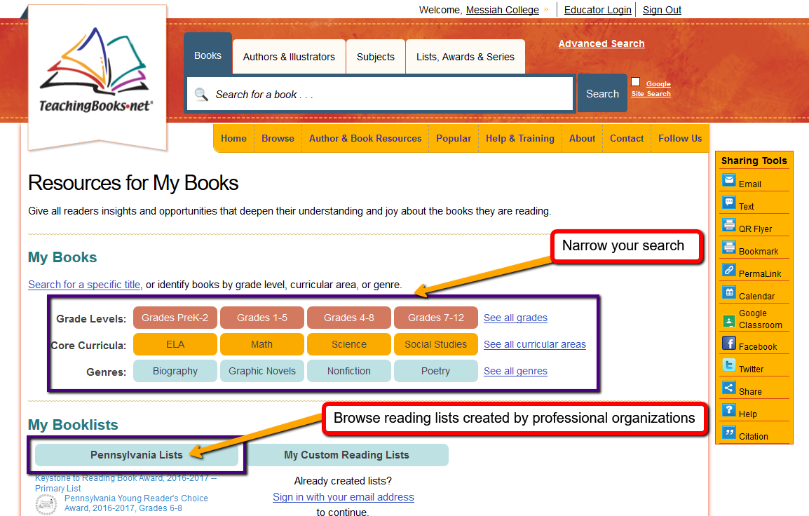 Search results from TeachingBooks.net