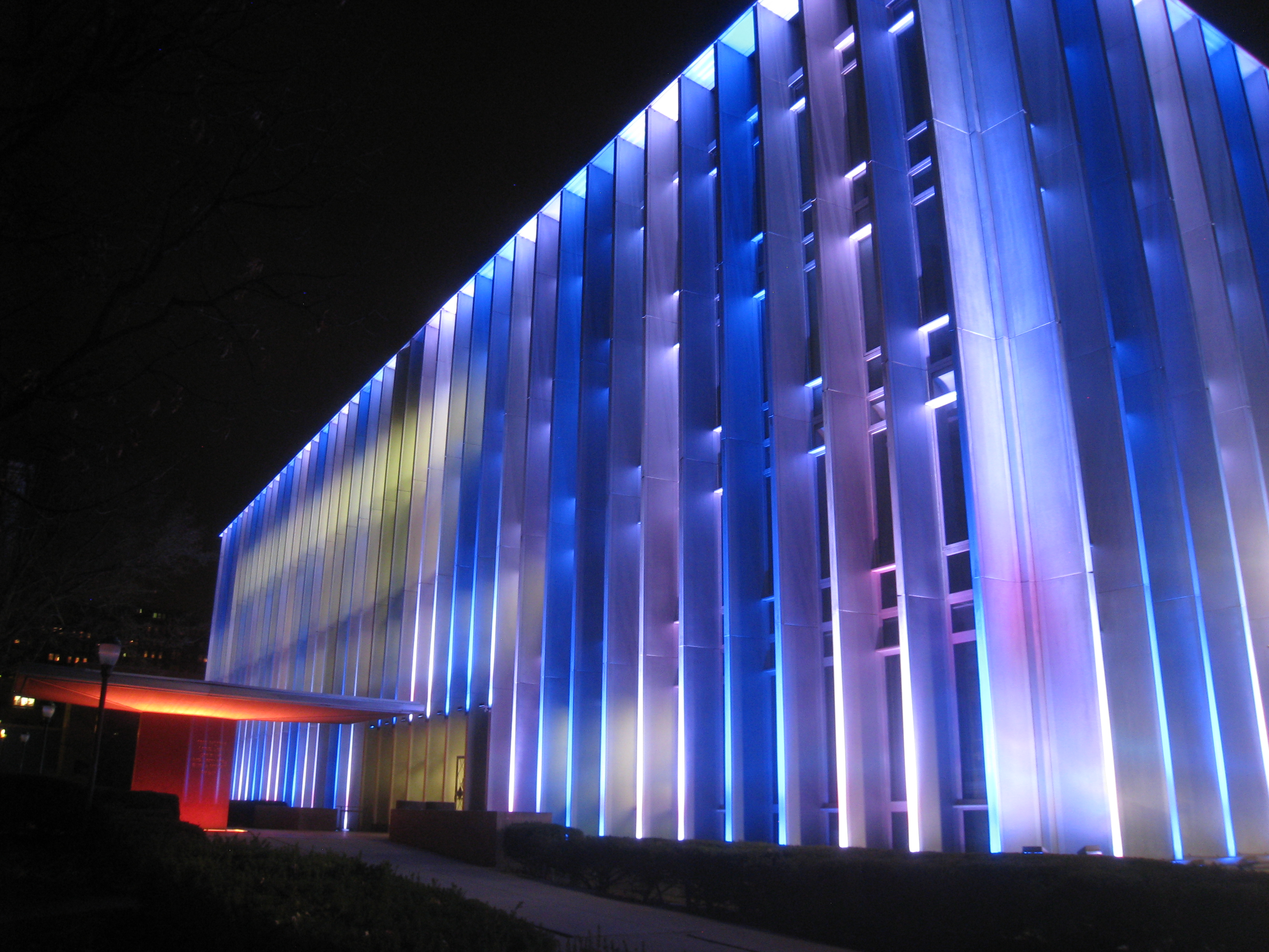 Hunt Library at night